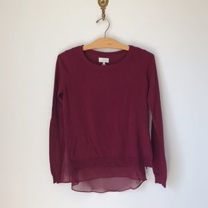 Lucky Brand Mixed Media Maroon Burgundy Sweater